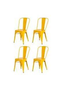 Kit 4 Cadeiras Tolix Iron Design Amarela Aco Industrial Sala Cozinha Jantar Bar