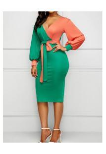 Vestido Bicolor Decote V Com Laço Manga Longa