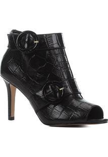 Sandal Boot Couro Shoestock Croco Salto Fino Feminina - Feminino-Preto