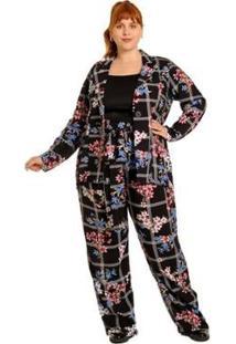 Calça Plus Size Pantalona Xadrez Com Flores Feminina - Feminino-Preto