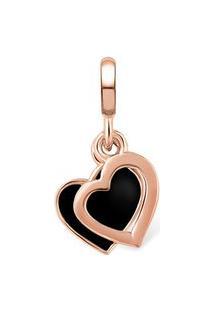 Pingente Life Coração Vazado Esmaltado Com Banho Ouro Rosé