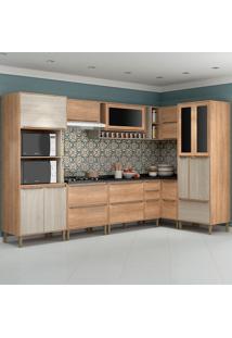 Cozinha Compacta C/Tampo Allure04 Fosco – Fellicci - Carvalho / Blanche