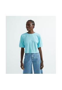 Blusa Curta Em Algodão Com Mangas Bufantes   Blue Steel   Azul   G