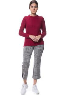 Blusa Logan Tricot Friz Na Frente Feminina - Feminino-Bordô