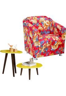 Poltrona Decorativa Para Sala Laura Vermelho Estampado Com Mesa De Centro E Lateral Amarelo Brilho L02 - Lyam Decor