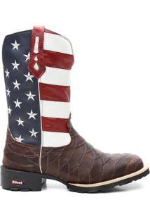 Bota Ellest Texana Bandeira Eua Bico Quadrado Escamada Masculina - Masculino-Marrom+Azul