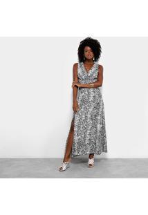 Vestido Longo Lily Fashion Snake Print - Feminino-Cinza