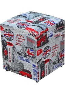 Puff Quadrado Decorativo Tecido 542 Lym Decor London Collor