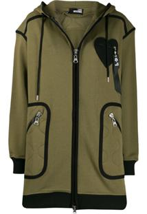 Love Moschino Piped Oversized Hooded Jacket - Verde