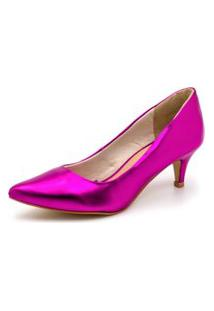 Sapato Scarpin Salto Baixo Fino Em Metalizado Roxo