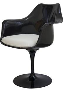 Cadeira Saarinen Preto Com Braco (Almofada Branca) - 15050 - Sun House