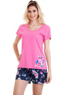 Pijama Feminino Em Algodão Luna Cuore - Feminino-Rosa