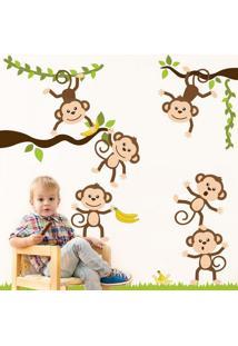 Adesivo De Parede Quartinhos Macacos Amigos Colorido