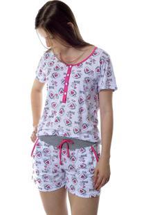 Pijama Feminino Curto Estampado Short Doll Com Abertura Em Botões Mania Pijamas