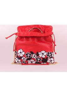 Bolsa Em Couro Floral- Vermelha & Brancaluiza Barcelos