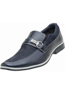 Sapato Social Venetto Lona Jeans - Masculino-Azul