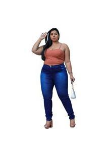 Kit Duas Calça Jeans Skinny Cós Alto Levanta Bumbum C/ Stretch Confortavel Azul