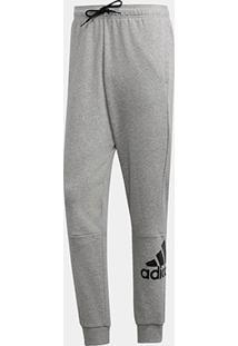 Calça Moletom Afunilada Adidas Masculina - Masculino-Cinza+Branco