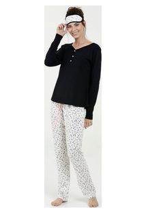 Pijama Feminino Estampa Bolinhas Manga Longa Marisa