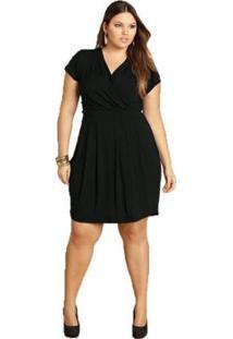 Vestido Plus Size Quintess Curto Feminino - Feminino-Preto