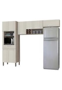 Cozinha Compacta Ametista 8 Portas Composiçáo 2 Nogal/Arena - Kit'S Paraná