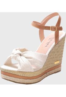 Sandã¡Lia Sb Shoes Anabela Ref.3250 Off White / Whisky - Bege/Off-White - Feminino - Tãªxtil - Dafiti