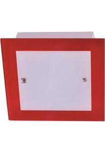 Plafon Attena Quadrado Flex Sobrepor E Embutir 25Cm Em Vidro - Vermelho