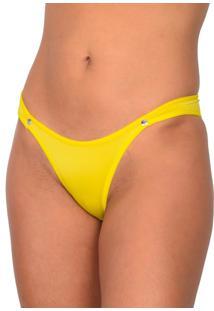 Tanga Vip Lingerie Microfibra Com Strass Amarelo