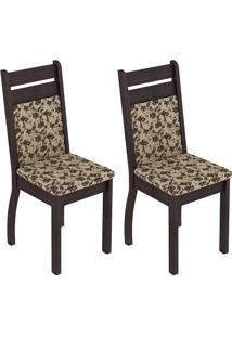Kit 2 Cadeiras Tabaco/Tecido Floral-Bege Marrom - Madesa