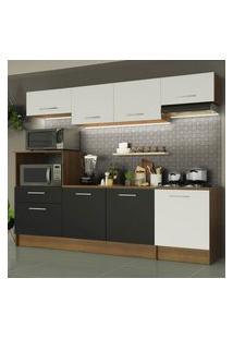 Cozinha Completa Madesa Onix 240003 Com Armário E Balcáo - Rustic/Branco/Preto 5Z73 Marrom