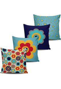 Kit 4 Capas Almofada Estampa Floral Azul E Vermelho 45X45Cm - Tricae