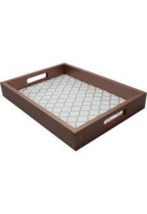 Bandeja Para Aparador Geométrica- Bronze & Branca- 5Kapos