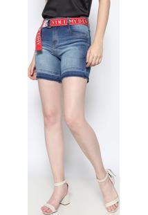 Bermuda Jeans Com Cinto- Azul & Vermelhadimy