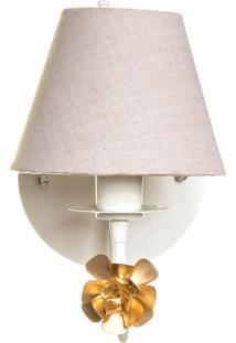 Arandela 1 Lâmpada Flor Dourada Quarto Bebê Infantil Menina Menino Potinho De Mel Dourado