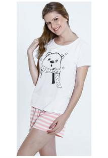 Pijama Feminino Short Doll Estampa Urso Marisa