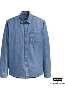 Camisa Jeans Levis Skateboarding Riveter - Masculino-Azul