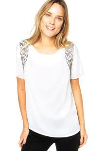 Blusa Dafiti Unique Aplicação Branca