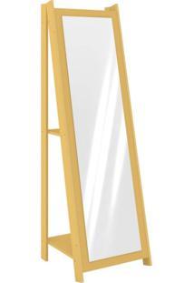 Espelho De Chão Com 2 Prateleiras Retrô 161Cmx50Cm Movelbento Amarelo