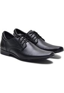 Sapato Social Couro Ded Calçados Com Cadarço Masculino - Masculino-Preto