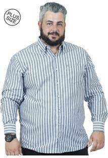 Camisa Plus Size Bigshirts Manga Longa Listra
