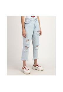 Calça Jeans Feminina Mom Cintura Super Alta Cropped Destroyed Azul Claro