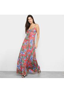 Vestido Lança Perfume Longo Estampado - Feminino-Vermelho