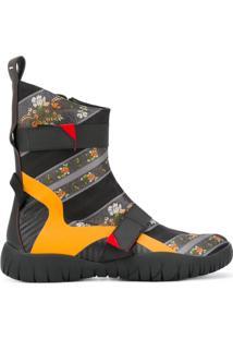 Maison Margiela Ankle Boot De Couro Com Estampa Floral - Preto