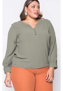 Blusa Almaria Plus Size Melonica Creponada Verde