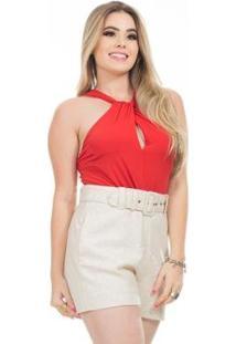 Body Clara Arruda Decote Nó 17006 - Feminino-Vermelho