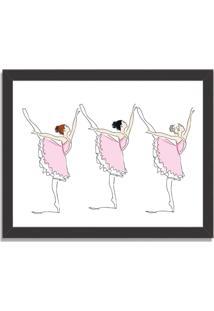 Quadro Decorativo Infantil Bailarinas Em Arabesque Preto - Médio