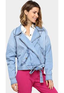 Jaqueta Jeans Vida Bela Oversized Transpasada Feminina - Feminino-Azul
