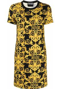 Versace Jeans Couture Vestido Reto Com Estampa De Logo Barroco - Preto