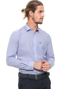 Camisa Lacoste Reta Bolso Azul