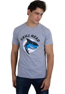 Camiseta Skill Head Shark - Masculino-Cinza
